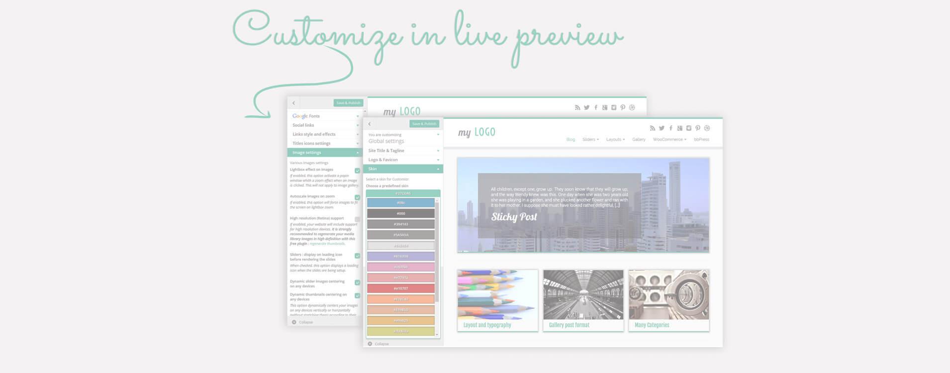 Много опции за дизайн и изглед са достъпни чрез Wordpress панела за персонализация : вижте вашите промени на живо !